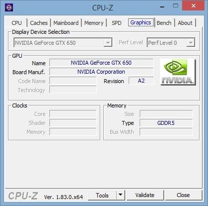 Видеокарта в CPU-Z