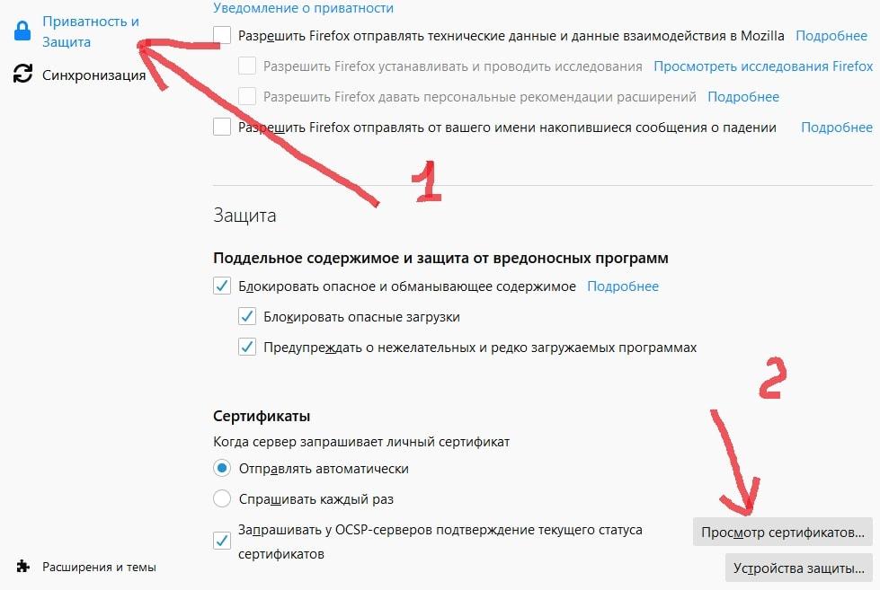 устанавливаем сертификат безопасности в Firefox - приватность и защита