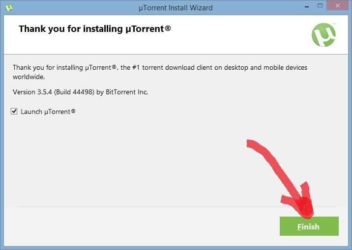 uTorrent - финиш