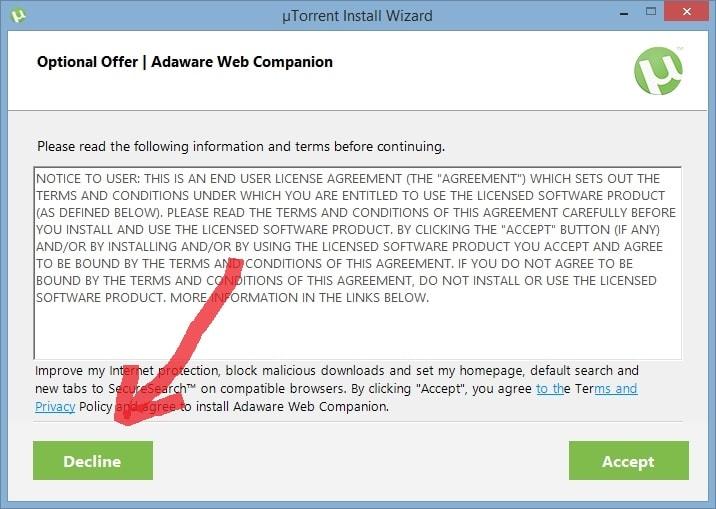 uTorrent предлагает показывать рекламу